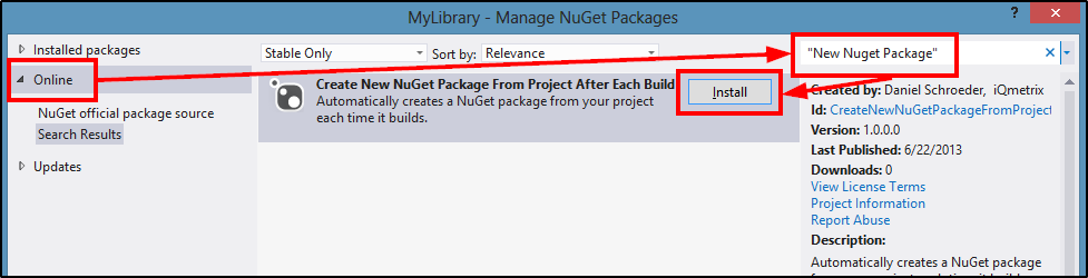 Install NuGet Package From Package Manager