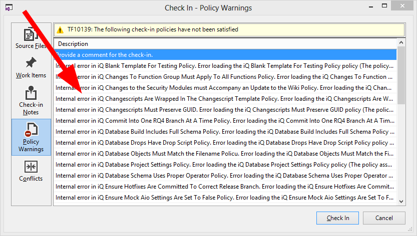 Getting Custom TFS Checkin Policies To Work When Committing