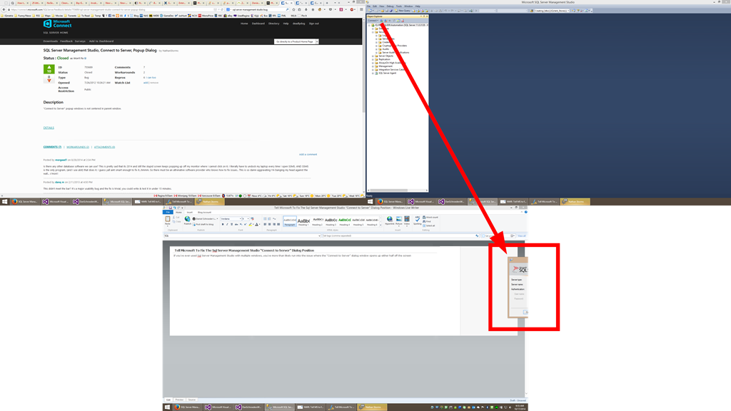 Sql Management Studio Multi-Monitor Bug