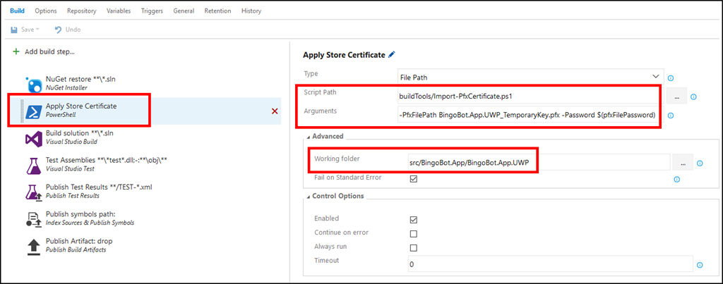 VSTS Build Pfx Certificate Step