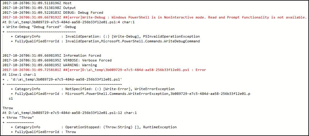 PowerShell Log Levels Included In TFS 2017 and VSTS Build