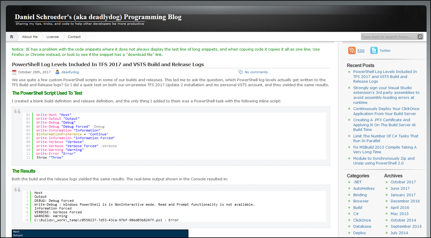 Old WordPress Blog Screenshot